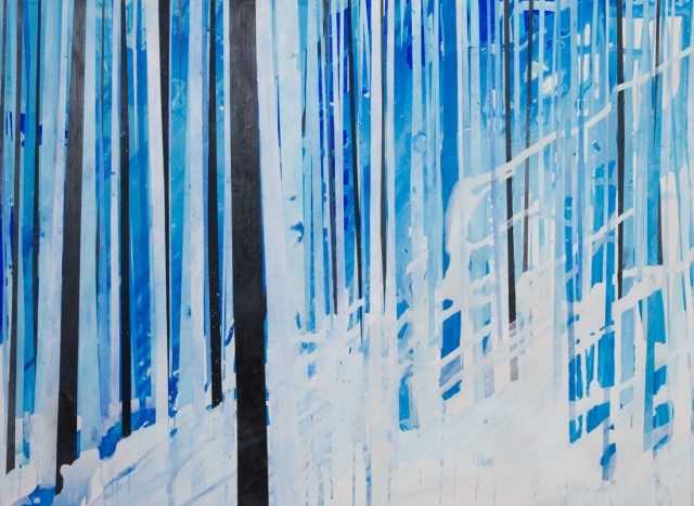 Painting of a winter forest by artist Owen Rundquist