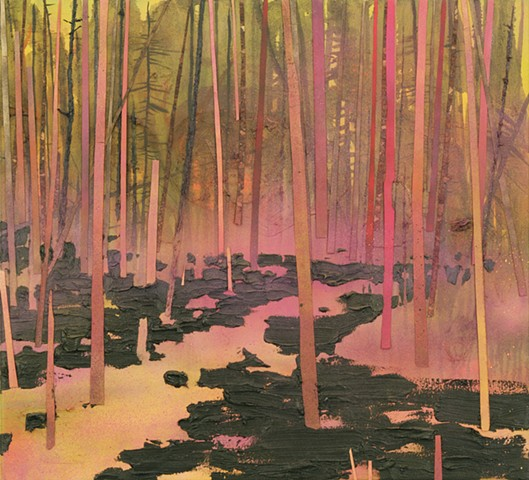 Glowing forest painting by artist Owen Rundquist