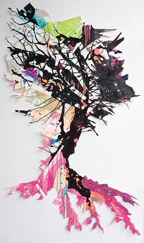Tree of spears collage by artist Owen Rundquist