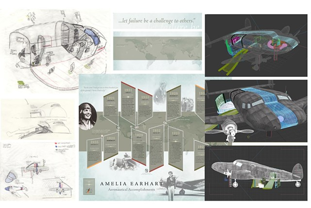 Ameila Earhart Visualization - Preproduction Sketches and Information Design Poster