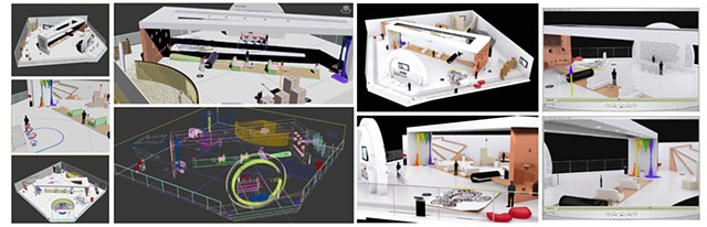 3D Gallery Exhibition Design Wireframe/Material Renders