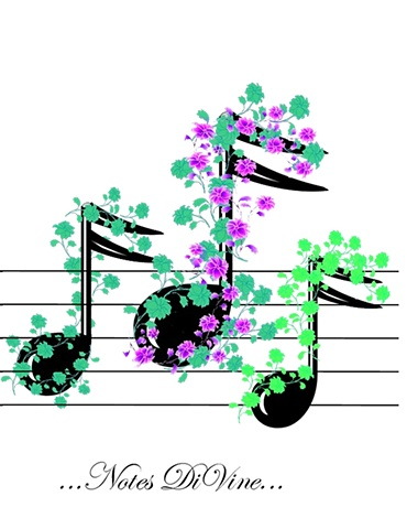 Handcrafted and embellished all-purpose greeting card, musical theme, blank inside