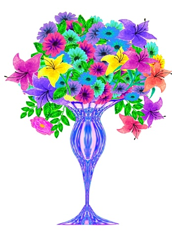Handcrafted and embellished all-purpose greeting card, flowers and bouquets, blank inside