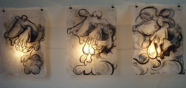 View of installed Birth Drawings