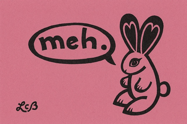"""Tauba Auerbach. A cute rabbit with hearts in her ears, on a red background. This art was only in one show. It sold for $50 shortly after the """"Love/Hate"""" show at Psycho Donuts in Campbell, February 2012."""