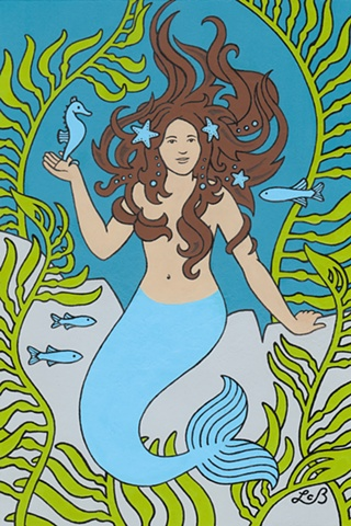 Painting of a mermaid. She has brown hair and a blue tail. She is surrounded by kelp seaweed and fish. She holds a seahorse in her hand.