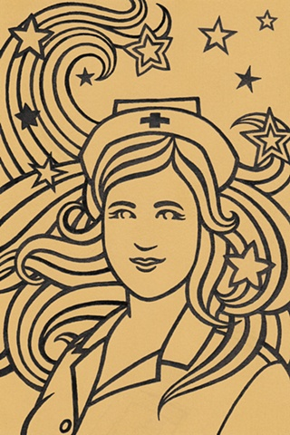 Sold for $85. A line drawing of a nurse with stars in her swirling hair. Black lines on a yellow background. Style resembles art nouveau by Alphonse Mucha and pop art by Peter Max. Psychedelic imagery, like a hallucination.