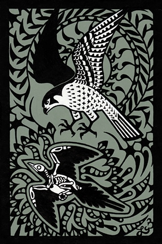 Intricate black-and-white drawing of a peregrine falcon (Falco peregrinus) swooping towards the flying skeleton of a passenger pigeon (Ectopistes migratorius). Drawn by Laura Callln Bennett.