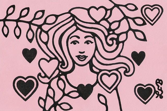 Tauba Auerbach. Ink line drawing of a woman with hearts and leaves. Style resembles 1970s art or a stamp. Pink background.