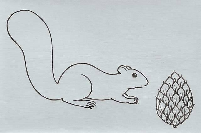 Line drawing of a squirrel in profile, and a pinecone, on a gray background. Drawn by Laura Callln Bennett.