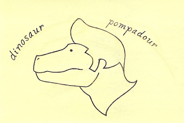 Dinosaur Pompadour. Drawn by Laura Callin Bennett. One person has asked to use this design as a tattoo.