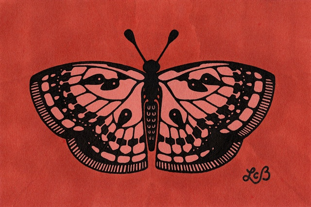 Tauba Auerbach. Fritillary. Orange Butterfly. Tattoo style. Sold for $60 at Kaleid Gallery, July 2012.