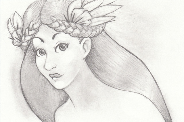 Tauba Auerbach. Pencil drawing of  a pretty women with braids and flowers in her hair. Fairy, fae, elf, elven.