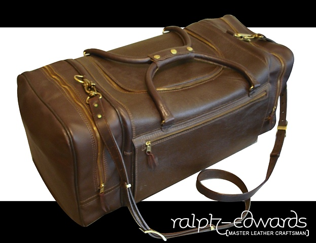 Brown Travel Bag - 4/5 oz. Cowhide 15 x 15 x 34 inches - with adjustable over the head shoulder strap
