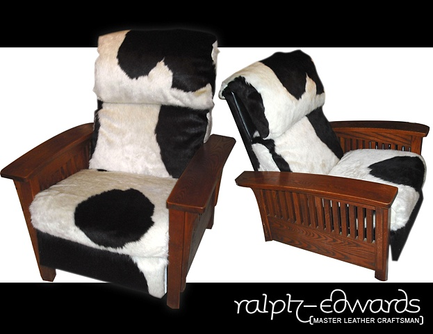 "Re-upholstered Recliner Chair - ""Holstein"" Hair-on Cowhide Leather"