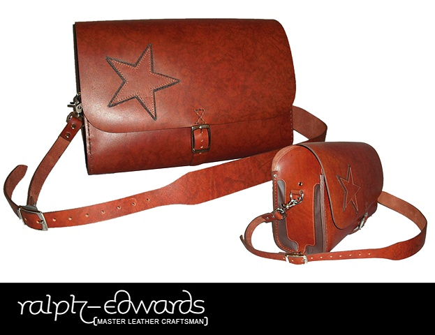Cowhide purse with star applique