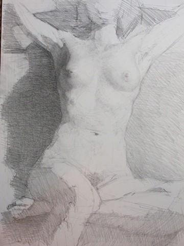 Seated Female Nude; Torso