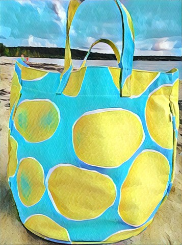 See Design Circle Tote Large Stones Green/Blue