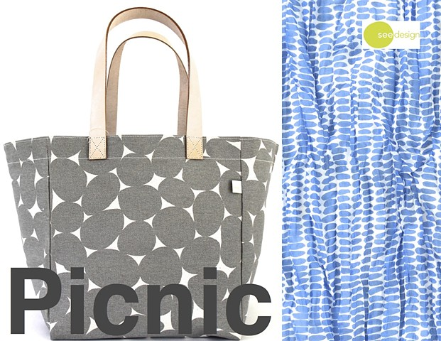 See Design Cube Tote Stones Grey, Cotton Scarf Seeds Periwinkle