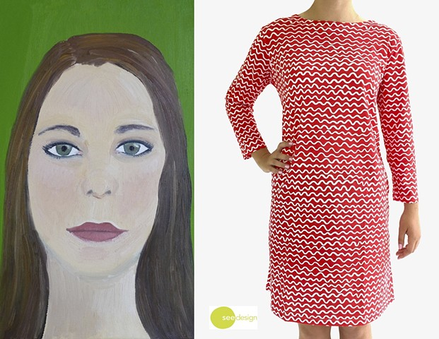 See Design Knit Dress Wiggle Red