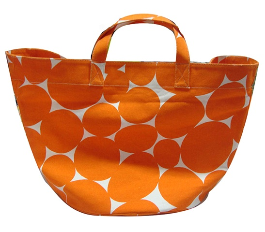 large soft dot orange circle tote