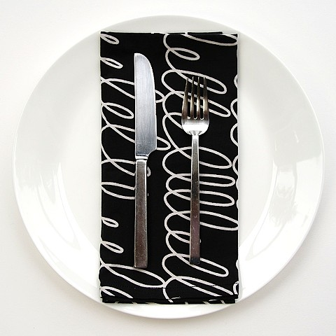 notes black dinner napkin