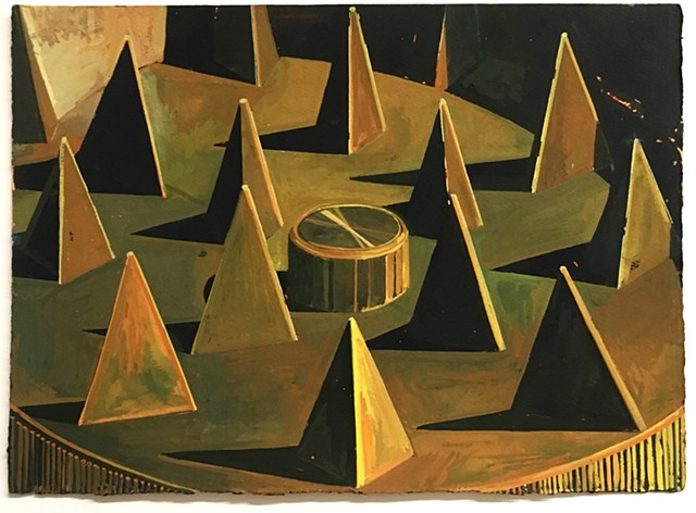 Abstract Landscape with Pyramids and Magnet