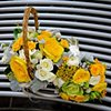 yellow flower girl basket and bridal bouquet