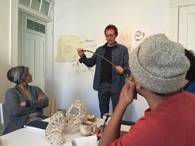 Dave Chapman, a Wisconsin furniture maker, is giving our team a primer on working with willow as a material for our green sculptures.