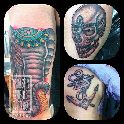 Skull , Elephant and Skull tattoos by Jessica Doyle. Follow Jess @jessicadoyle