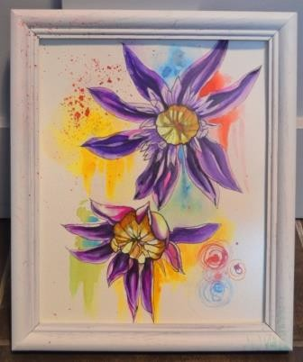 Clematis flowers- watercolor
