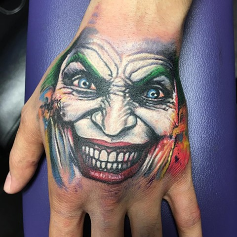 Joker Full Color Hand Tattoo