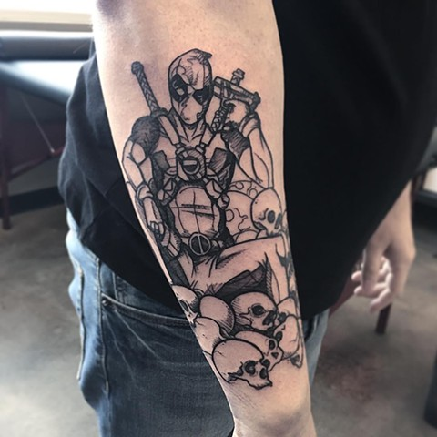 Deadpool Tattoo By Adrienne Blackworks Crimson Empire Tattoo - 02.2017