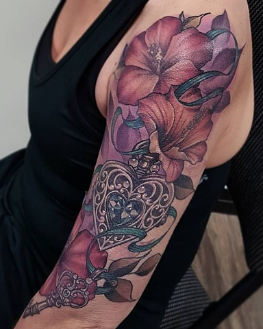 Realistic Locket and Flower Colour !1/2 Sleeve Tattoo