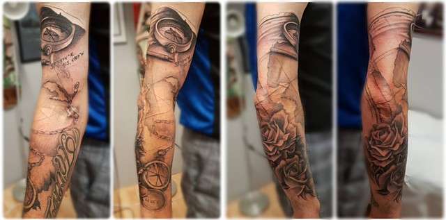 Travel Theme Compass, Roses, Map and Script Tattoo By Kevin Black and Grey Crimson Empire Tattoo - 07.2017