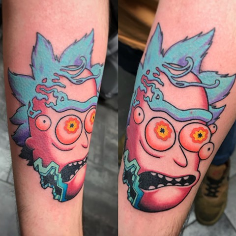 Rick And Morty Rick Sanchez Tattoo By Landon Wierenga Color Crimson Empire Tattoo