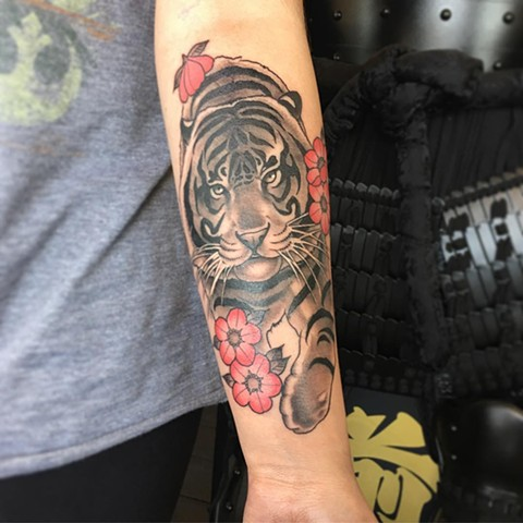 Tiger Black and Grey with Color Tattoo