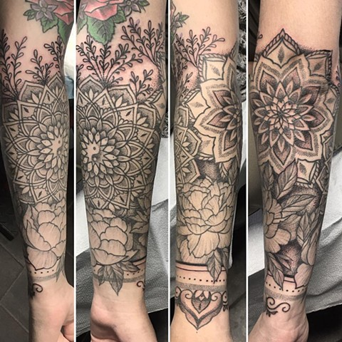 Flowers and Mandala Tattoo By Cheyanne Pointillism Black and Grey Crimson Empire Tattoo - 09.2017
