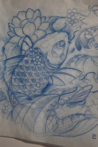 Crimson empire tattoo for Koi fish sketch