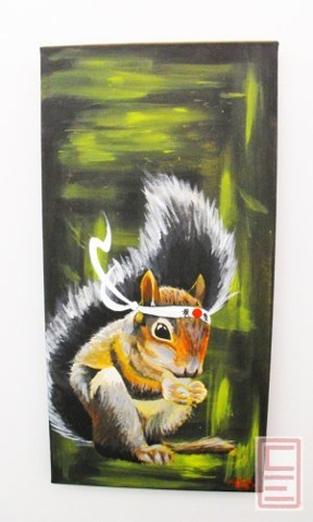 Karate Squirrel Painting