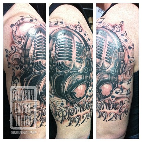 Mic and Music piece on bicep by Jessica Alther