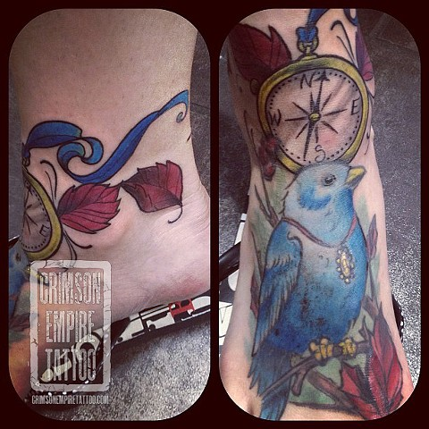 Bluebird and compass on foot by Chad Clothier