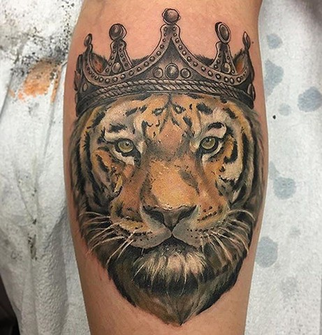 Tiger Portrait w/ Crown Color Tattoo