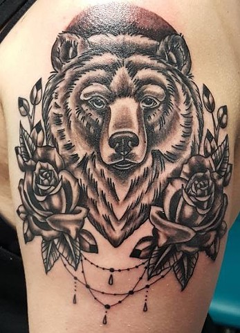 Black and Grey Bear Roses Tattoo