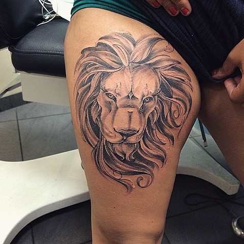 Lion Portrait Black and Grey Tattoo