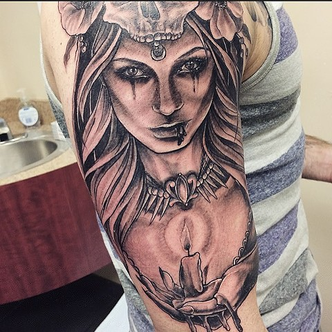 Woman (Lady Death) Portrait Black and Grey Tattoo