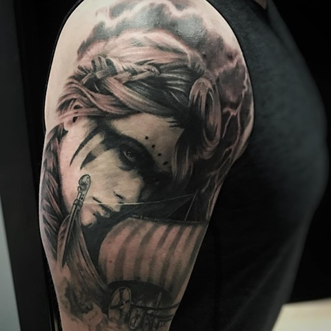Black and Grey Woman and Ship Tattoo