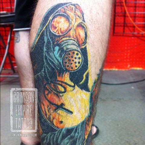 Gasmask on leg by Jared Phair. Follow Jared @jroctizzle