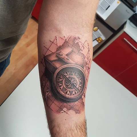 Map and Compass Tattoo By Kevin Black and Grey Crimson Empire Tattoo - 11.2017