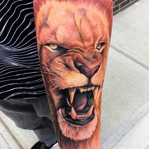 Lion Tattoo By Chad Color Crimson Empire Tattoo